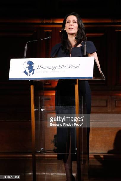 Host of the evening Marie Drucker presents the Tribute to ELie Wiesel by Maurice Levy X Publicis Group at La Sorbonne on January 29 2018 in Paris...