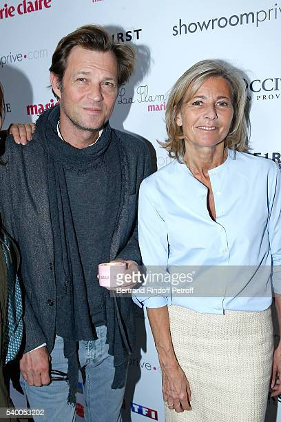 Host of the event Laurent Delahousse and Sponsor and Host of the event Claire Chazal of France 5 attend 'La Flamme Marie Claire' 7th Edition Press...