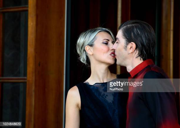 Host of the festival Michele Riondino and Eva Nestori attend a photocall ahead of the 75th Venice Film Vestival at Palazzo del Casino on August 28...