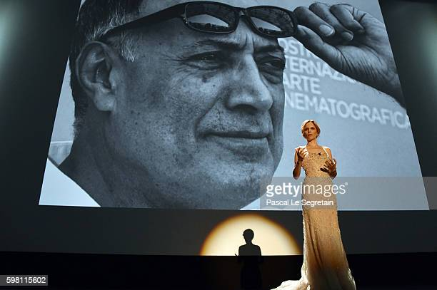 Host of the festival Sonia Bergamasco speaks on the stage at the opening ceremony during the 73rd Venice Film Festival at Sala Grande on August 31,...