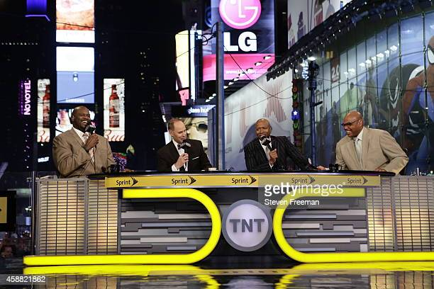 Host of the 'Inside the NBA' Ernie Johnson hosts the show with analysts Charles Barkley Kenny Smith and Shaquille O'Neal at TNT tip off event at...