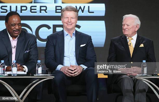 Host of THE SUPER BOWL TODAY James Brown Analyst Super Bowl 50 Phil Simms and PlaybyPlay Announcer Super Bowl I Jack Whitaker speak onstage during...