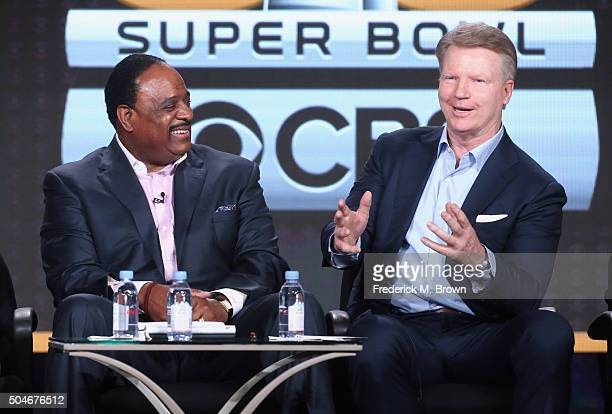 Host of THE SUPER BOWL TODAY James Brown and Analyst Super Bowl 50 Phil Simms speak onstage during the 'CBS Sports' panel discussion at the...