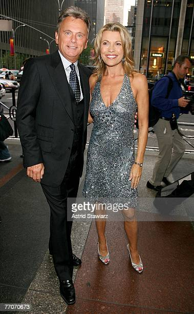Host of the TV game show Wheel Of Fortune Pat Sajak and model Vanna White celebrate the 25th anniversary of Wheel Of Fortune at Radio City Music Hall...