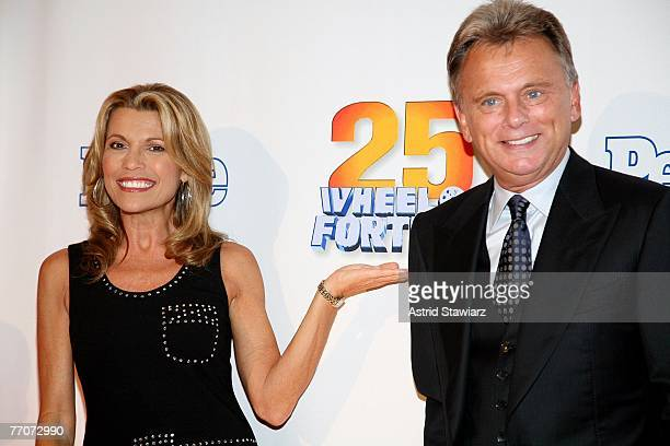 Host of the TV game show Wheel Of Fortune Pat Sajak and model Vanna White attend the 25th anniversary celebration of the television game show Wheel...