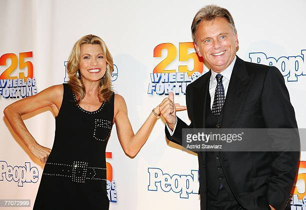 Host of the TV game show 'Wheel Of Fortune' Pat Sajak and model Vanna White attend the 25th anniversary celebration of the television game show...