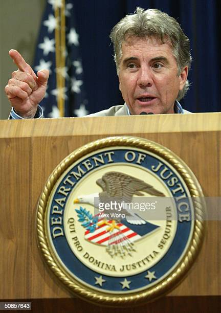Host of TV show America's Most Wanted John Walsh speaks during a National Missing Children's Day event at the Justice Department May 19 2004 in...