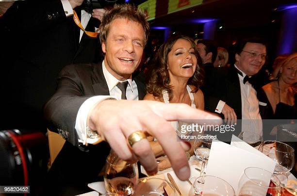 TV host Oliver Geissen and wife actress Christina Plate attend the 37th German Filmball 2010 at the Hotel Bayerischer Hof on January 16 2010 in...