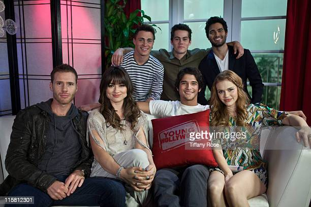 Host Oliver Trevena Crystal Reed Colton Haynes Tyler Posey Dylan O'Brien Holland Roden and Tyler Hoechlin visit YoungHollywoodcom to promote 'Teen...