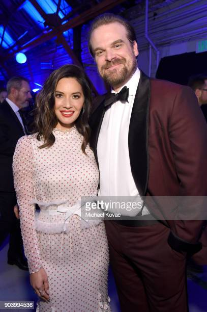 Host Olivia Munn and actor David Harbour attend Moet Chandon celebrate The 23rd Annual Critics' Choice Awards at Barker Hangar on January 11 2018 in...