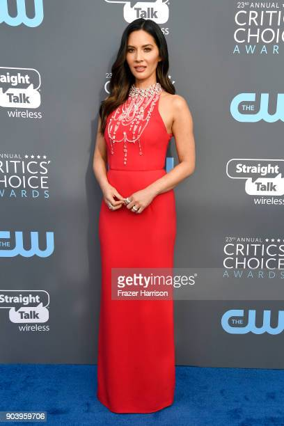 Host Olivia Munn attends The 23rd Annual Critics' Choice Awards at Barker Hangar on January 11 2018 in Santa Monica California
