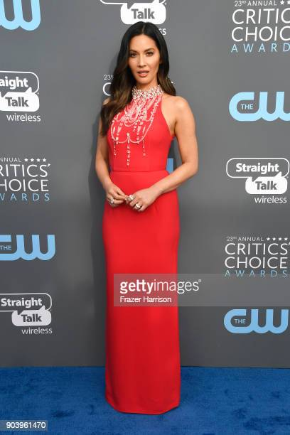 Host Olivia Munn attends The 23rd Annual Critics' Choice Awards at Barker Hangar on January 11 2018 in Santa Monica California