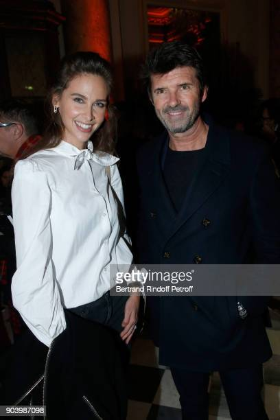 TV Host Ophelie Meunier and CEO of Mazarine Group PaulEmmanuel Reiffers attend the Vendorama Exhibition as Boucheron Celebrates its 160th Anniversary...