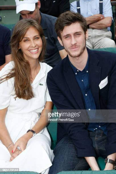Host Ophelie Meunier and singer JeanBaptiste Maunier attend the 2018 French Open Day Six at Roland Garros on June 1 2018 in Paris France
