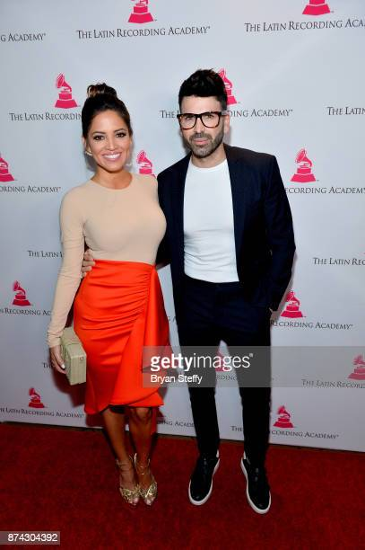 Host Pamela Silva Conde and Jomari Goyso attend the Leading Ladies Lunch during the 18th annual Latin Grammy Awards at Mastro's Ocean Club at The...