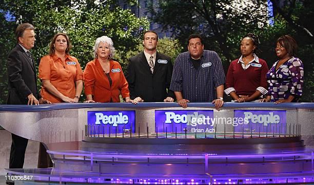 "Host Pat Sajak, Tara Carroll, Paul Deen, James Thompson, Steve Schirripa, Joy Bryant, and Sherri Shepherd at the taping of the ""Wheel of Fortune""..."