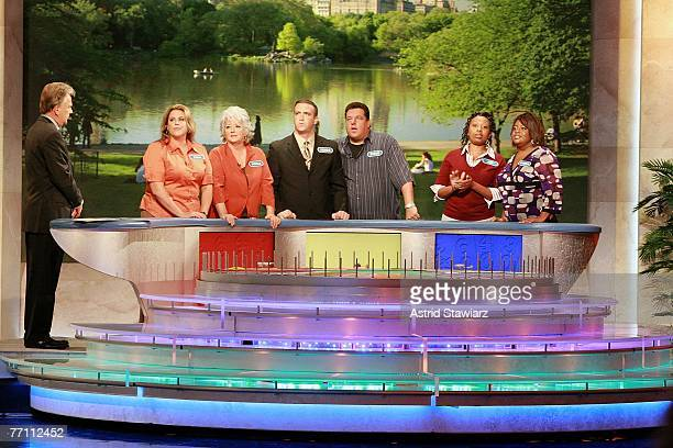 Host Pat Sajak Tara Carroll Paula Deen James Thompson actor Steve Schirripa Joy Bryant and actress Sherri Shepherd during a taping of Wheel Of...