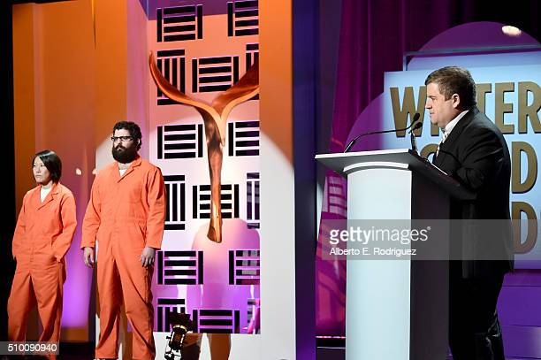 Host Patton Oswalt speaks onstage during the 2016 Writers Guild Awards at the Hyatt Regency Century Plaza on February 13 2016 in Los Angeles...