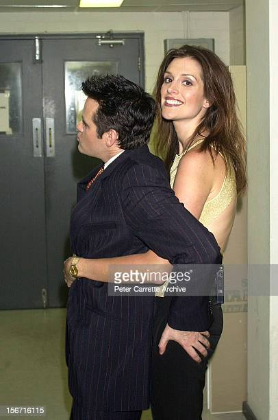 Host Paul McDermott with Australian model Kate Fischer backstage before filming an episode of 'Good News Week' at the Channel Ten television studios...
