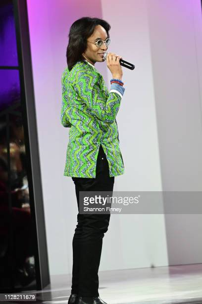 Host Paul Wharton welcomes guests to the District of Fashion Fall/Winter 2019 Runway Show on February 07 2019 at the National Museum of Women in the...