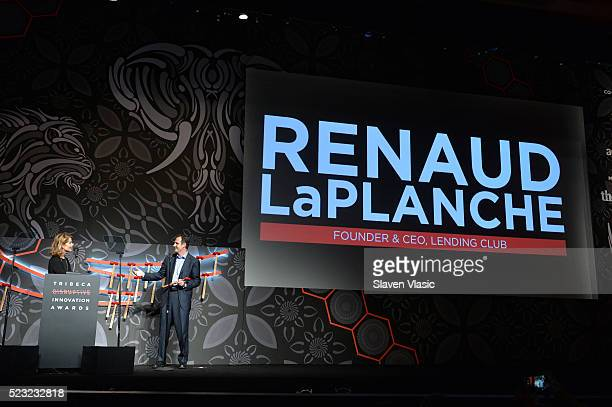 Host Perri Peltz and Founder/CEO of Lending Club online leader Renaud Laplanche poses with his award at Tribeca Disruptive Innovation Awards 2016...