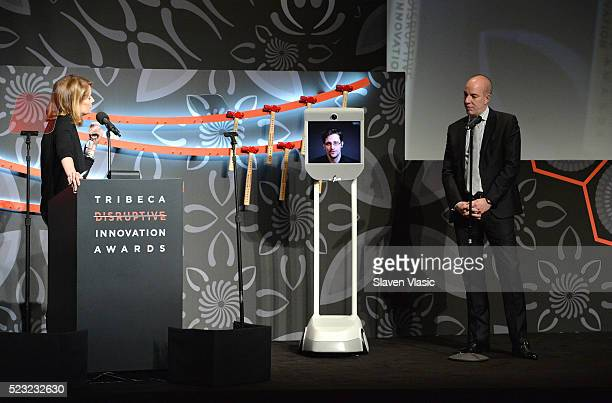 Host Perri Peltz Civil Liberty Defender Anthony D Romero and Edward Snowden speak on stage at Tribeca Disruptive Innovation Awards 2016 Tribeca Film...
