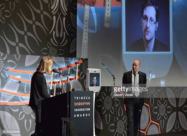 Host Perri Peltz Civil Liberty Defender Anthony D Romero and Edward Snowden speak on stage at Tribeca Disruptive Innovation Awards 2016 Tribeca Film...
