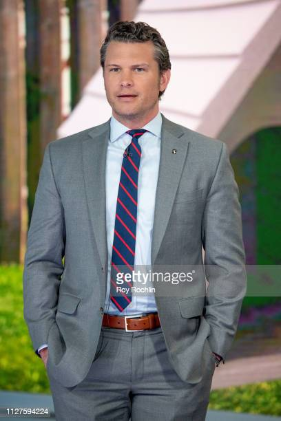 Host Pete Hegseth as Nick Lachey Visits Fox Friends to discuss the American Kennel Club show at Fox News Channel Studios on February 05 2019 in New...
