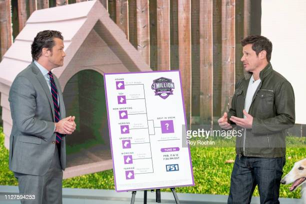 Host Pete Hegseth with Nick Lachey as he visits Fox Friends to discuss the American Kennel Club show at Fox News Channel Studios on February 05 2019...
