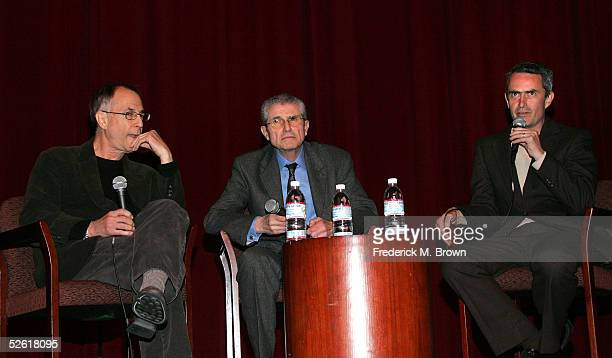 """Host Peter Lefcourt, Director Claude Lelouch and translator are seen onstage during a Q&A with the dirctor following the screening of """"Men And Women""""..."""