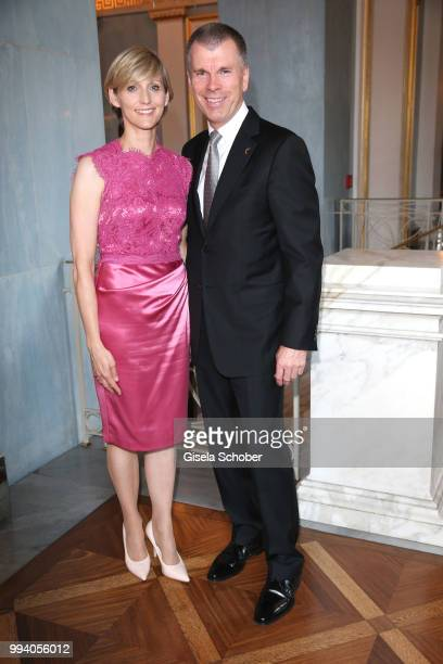 Host Peter Mey Director BMW Niederlassung Muenchen and his wife Candy Mey during the 'Oper fuer alle Parsifal' as part of the Munich Opera Festival...