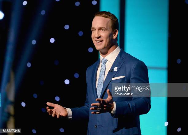 Host Peyton Manning speaks onstage at The 2017 ESPYS at Microsoft Theater on July 12 2017 in Los Angeles California