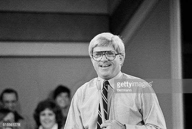 Host, Phil Donahue, is shown here during the taping of his daily talk show.