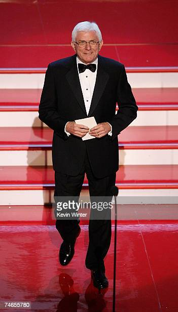 TV host Phil Donahue presents the Emmy for Outstanding Talk Show onstage during the 34th Annual Daytime Emmy Awards held at the Kodak Theatre on June...