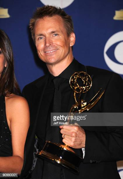 Host Phil Keoghan poses in the press room at the 61st Primetime Emmy Awards held at the Nokia Theatre on September 20 2009 in Los Angeles California