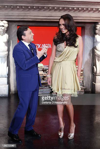 TV Host Piero Chiambretti and Tamara Ecclestone attend Chambretti Night Italian TV Show on February 4 2012 in Milan Italy