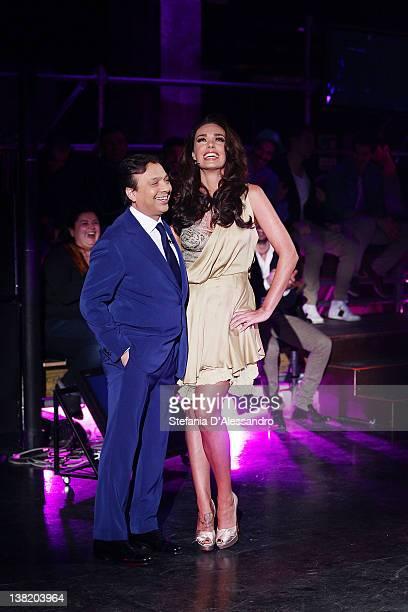 TV Host Piero Chiambretti and Tamara Ecclestone attend 'Chambretti Night' Italian TV Show on February 4 2012 in Milan Italy