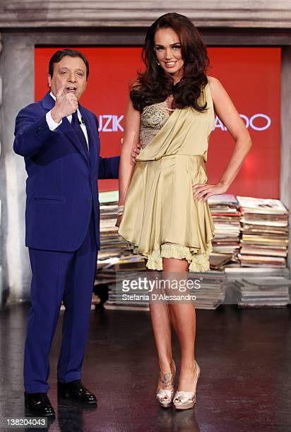 TV Host Piero Chiambretti and Tamara Ecclestone attend Chiambretti Night Italian TV Show on February 4 2012 in Milan Italy