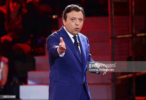 TV Host Piero Chiambretti attends Chiambretti Night Italian TV Show on February 4 2012 in Milan Italy