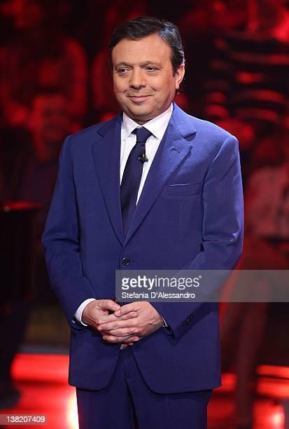 Host Piero Chiambretti attends 'Chiambretti Night' Italian TV Show on February 4 2012 in Milan Italy
