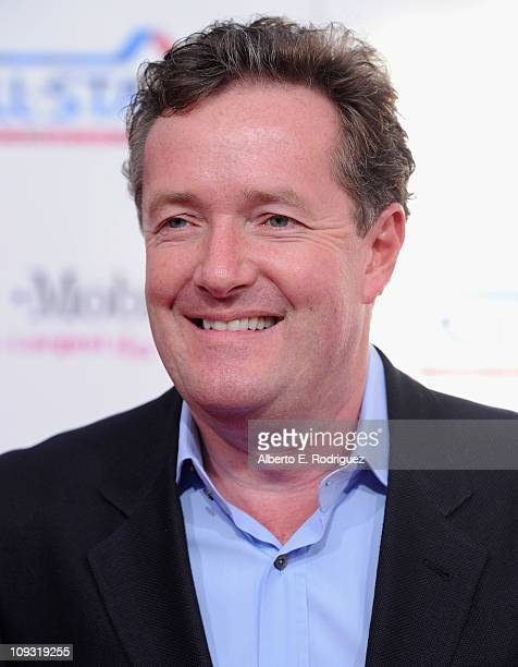 Host Piers Morgan arrives to the T-Mobile Magenta Carpet at the 2011 NBA All-Star Game on February 20, 2011 in Los Angeles, California.
