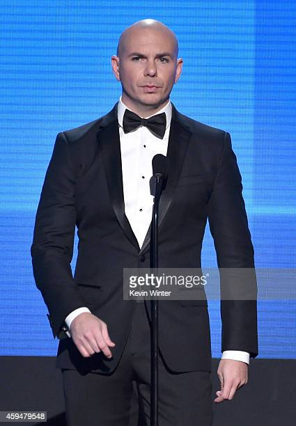 Host Pitbull speaks onstage at the 2014 American Music Awards at Nokia Theatre LA Live on November 23 2014 in Los Angeles California