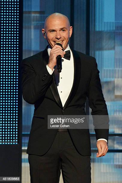 Host Pitbull speaks onstage during the 2013 American Music Awards at Nokia Theatre LA Live on November 24 2013 in Los Angeles California