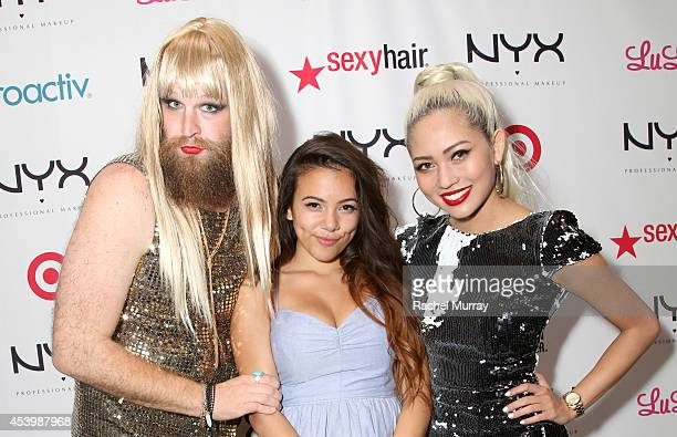 Host P'Trique finalist Adelaine Morin and host Amy Pham attend NYX FACE Awards 2014 Presented by NYX Cosmetics at Club Nokia on August 22 2014 in Los...