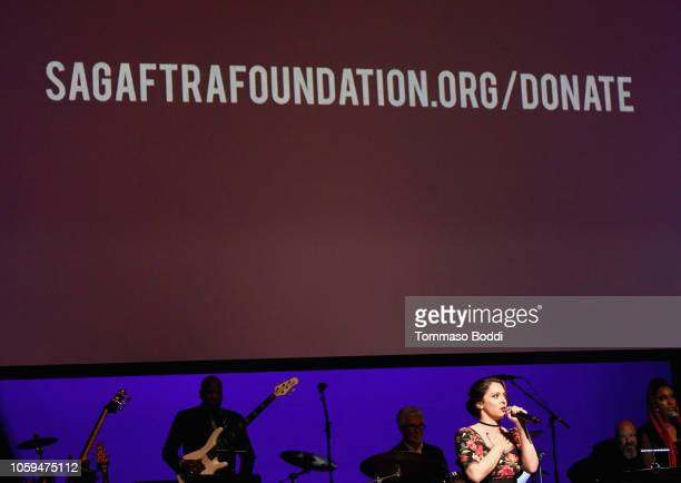 Host Rachel Bloom speaks onstage at the SAGAFTRA Foundation's 3rd Annual Patron of the Artists Awards at the Wallis Annenberg Center for the...