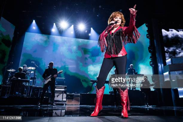 Host Reba McEntire performs onstage during the 54th Academy Of Country Music Awards at MGM Grand Garden Arena on April 07 2019 in Las Vegas Nevada