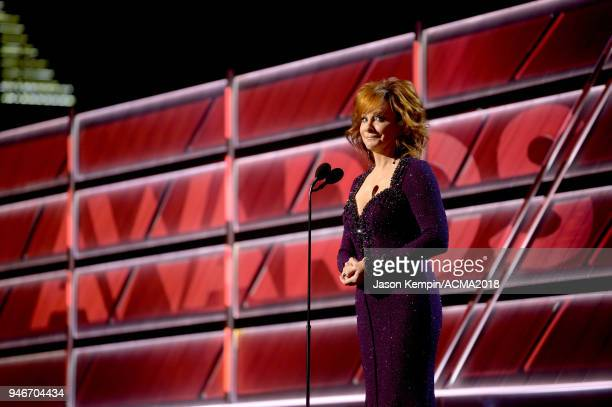 Host Reba McEntire speaks onstage at the 53rd Academy of Country Music Awards at MGM Grand Garden Arena on April 15 2018 in Las Vegas Nevada