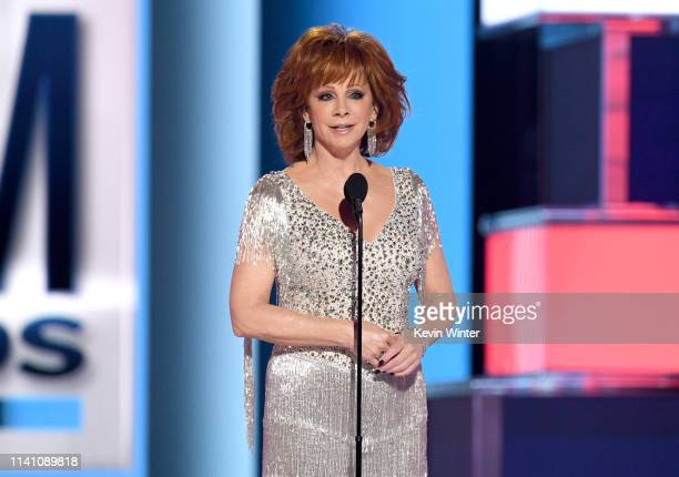 Host Reba McEntire speaks onstage during the 54th Academy Of Country Music Awards at MGM Grand Garden Arena on April 07 2019 in Las Vegas Nevada
