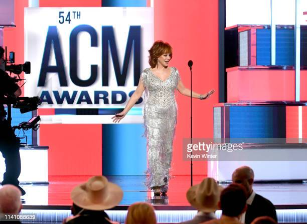 Host Reba McEntire walks onstage during the 54th Academy Of Country Music Awards at MGM Grand Garden Arena on April 07 2019 in Las Vegas Nevada