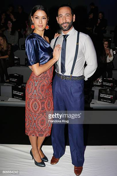 TV host Rebecca Mir and Massimo Sinato attend the 'The Power Of Colors MAYBELLINE New York MakeUp Runway' show during the MercedesBenz Fashion Week...